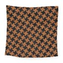 HOUNDSTOOTH2 BLACK MARBLE & RUSTED METAL Square Tapestry (Large) View1