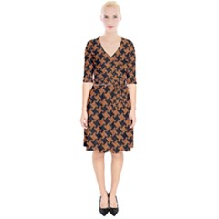 HOUNDSTOOTH2 BLACK MARBLE & RUSTED METAL Wrap Up Cocktail Dress