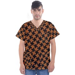 HOUNDSTOOTH2 BLACK MARBLE & RUSTED METAL Men s V-Neck Scrub Top