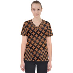 HOUNDSTOOTH2 BLACK MARBLE & RUSTED METAL Scrub Top