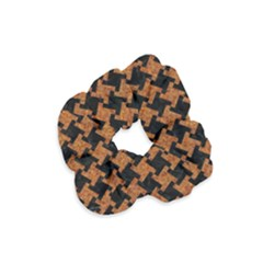 HOUNDSTOOTH2 BLACK MARBLE & RUSTED METAL Velvet Scrunchie