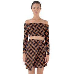 HOUNDSTOOTH2 BLACK MARBLE & RUSTED METAL Off Shoulder Top with Skirt Set