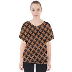 HOUNDSTOOTH2 BLACK MARBLE & RUSTED METAL V-Neck Dolman Drape Top