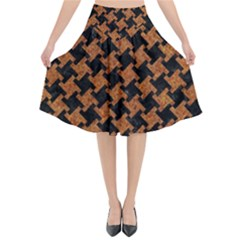 HOUNDSTOOTH2 BLACK MARBLE & RUSTED METAL Flared Midi Skirt