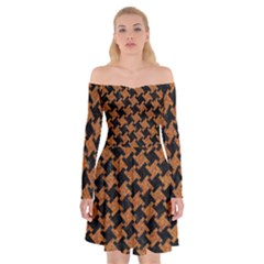 HOUNDSTOOTH2 BLACK MARBLE & RUSTED METAL Off Shoulder Skater Dress