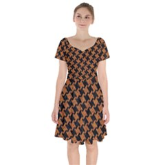 HOUNDSTOOTH2 BLACK MARBLE & RUSTED METAL Short Sleeve Bardot Dress