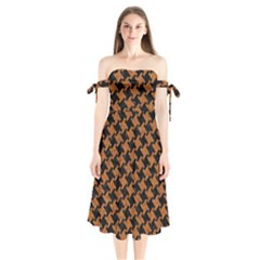 HOUNDSTOOTH2 BLACK MARBLE & RUSTED METAL Shoulder Tie Bardot Midi Dress
