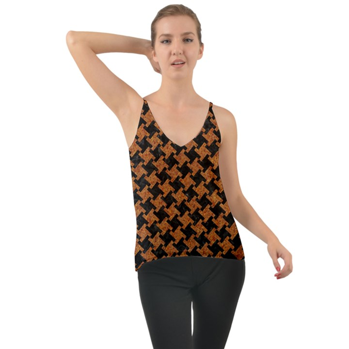 HOUNDSTOOTH2 BLACK MARBLE & RUSTED METAL Cami