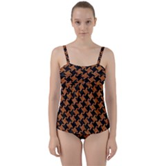 HOUNDSTOOTH2 BLACK MARBLE & RUSTED METAL Twist Front Tankini Set