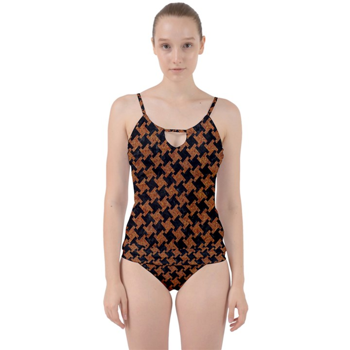 HOUNDSTOOTH2 BLACK MARBLE & RUSTED METAL Cut Out Top Tankini Set