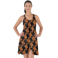 HOUNDSTOOTH2 BLACK MARBLE & RUSTED METAL Show Some Back Chiffon Dress
