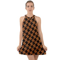 HOUNDSTOOTH2 BLACK MARBLE & RUSTED METAL Halter Tie Back Chiffon Dress