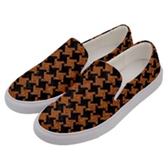 HOUNDSTOOTH2 BLACK MARBLE & RUSTED METAL Men s Canvas Slip Ons