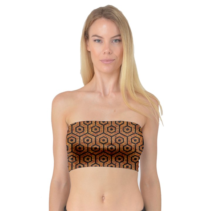 HEXAGON1 BLACK MARBLE & RUSTED METAL Bandeau Top