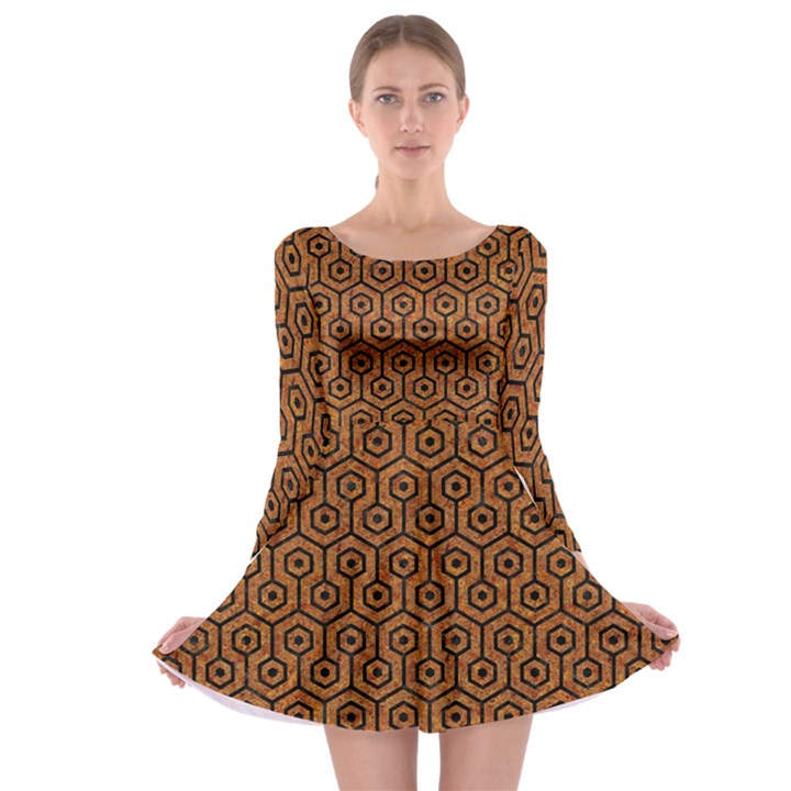 HEXAGON1 BLACK MARBLE & RUSTED METAL Long Sleeve Skater Dress