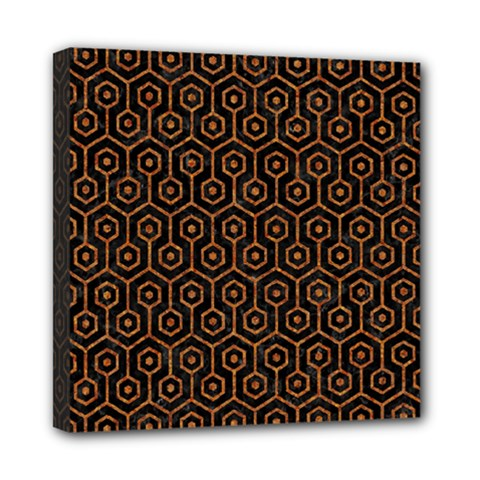 Hexagon1 Black Marble & Rusted Metal (r) Mini Canvas 8  X 8  by trendistuff