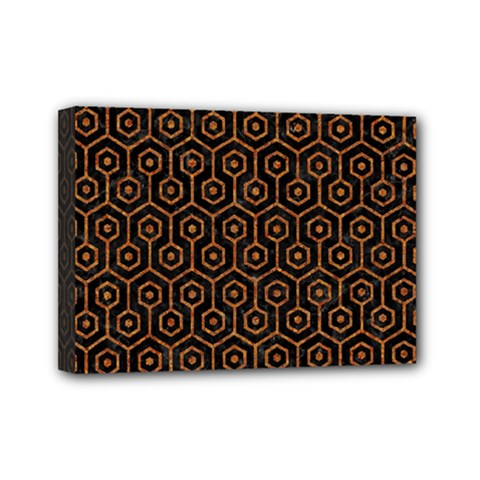 Hexagon1 Black Marble & Rusted Metal (r) Mini Canvas 7  X 5