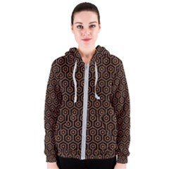 Hexagon1 Black Marble & Rusted Metal (r) Women s Zipper Hoodie by trendistuff