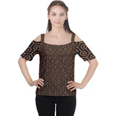 Hexagon1 Black Marble & Rusted Metal (r) Cutout Shoulder Tee