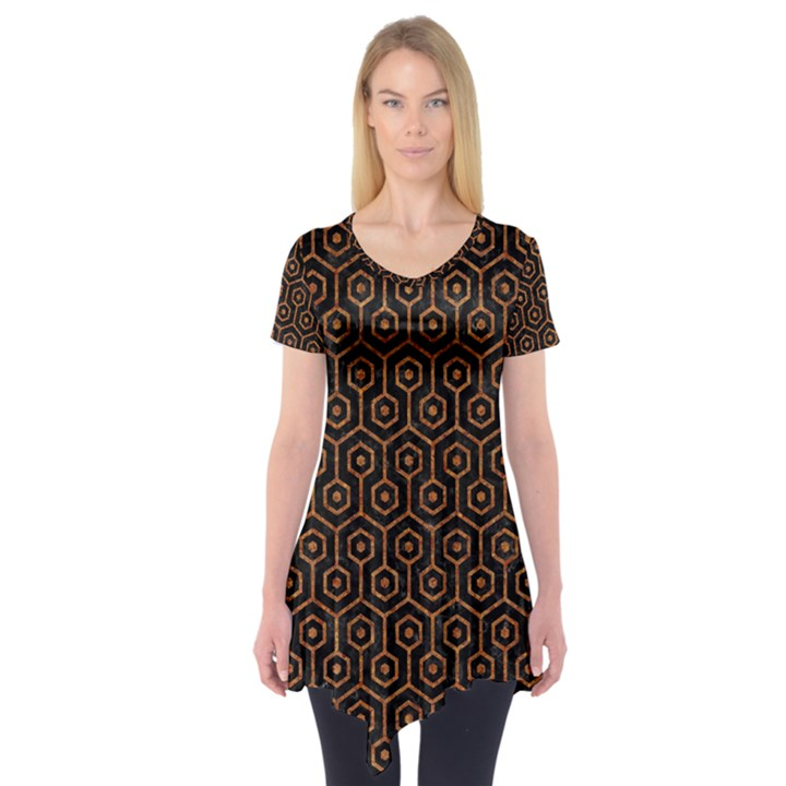 HEXAGON1 BLACK MARBLE & RUSTED METAL (R) Short Sleeve Tunic