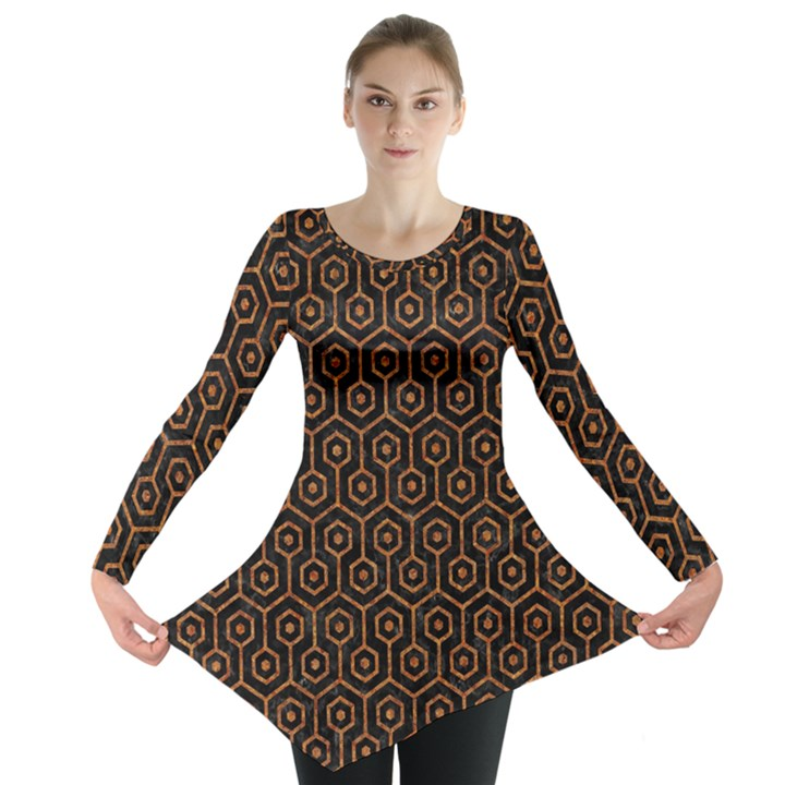 HEXAGON1 BLACK MARBLE & RUSTED METAL (R) Long Sleeve Tunic