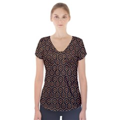 Hexagon1 Black Marble & Rusted Metal (r) Short Sleeve Front Detail Top by trendistuff