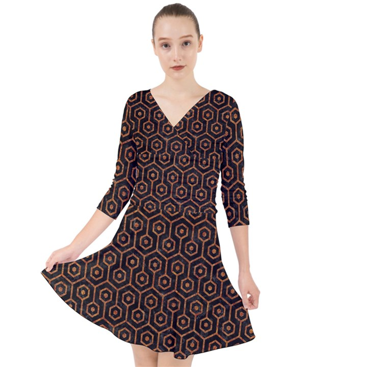 HEXAGON1 BLACK MARBLE & RUSTED METAL (R) Quarter Sleeve Front Wrap Dress