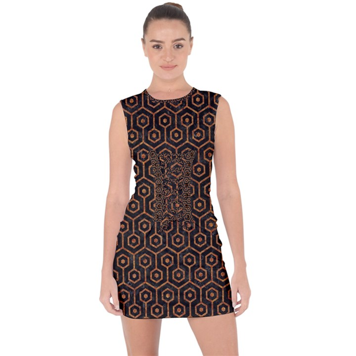 HEXAGON1 BLACK MARBLE & RUSTED METAL (R) Lace Up Front Bodycon Dress