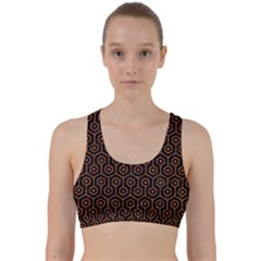 Hexagon1 Black Marble & Rusted Metal (r) Back Weave Sports Bra
