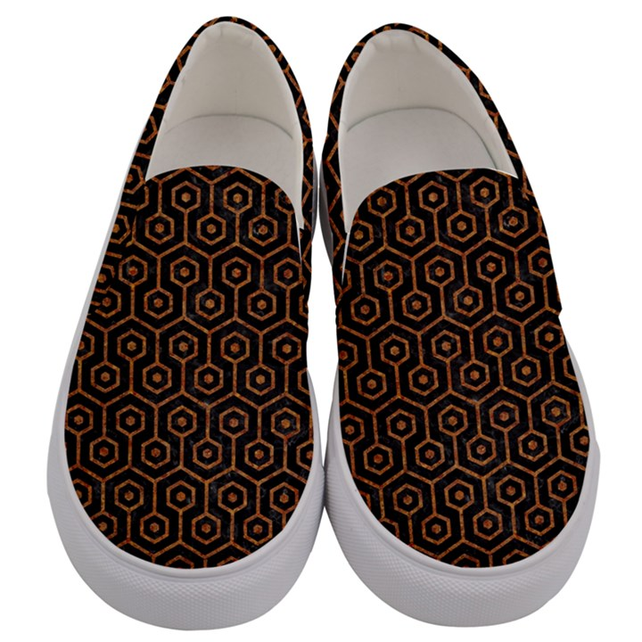 HEXAGON1 BLACK MARBLE & RUSTED METAL (R) Men s Canvas Slip Ons