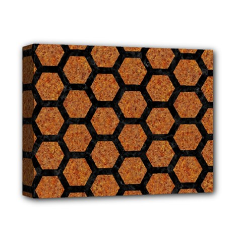 Hexagon2 Black Marble & Rusted Metal Deluxe Canvas 14  X 11  by trendistuff