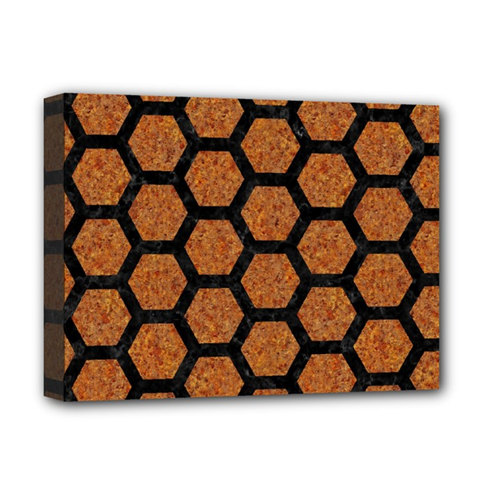 HEXAGON2 BLACK MARBLE & RUSTED METAL Deluxe Canvas 16  x 12