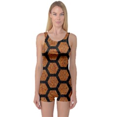 Hexagon2 Black Marble & Rusted Metal One Piece Boyleg Swimsuit