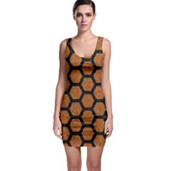 Hexagon2 Black Marble & Rusted Metal Bodycon Dress by trendistuff