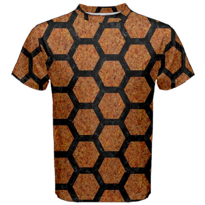 HEXAGON2 BLACK MARBLE & RUSTED METAL Men s Cotton Tee
