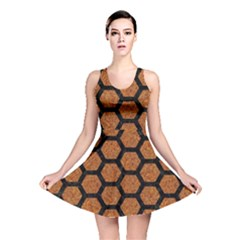 Hexagon2 Black Marble & Rusted Metal Reversible Skater Dress
