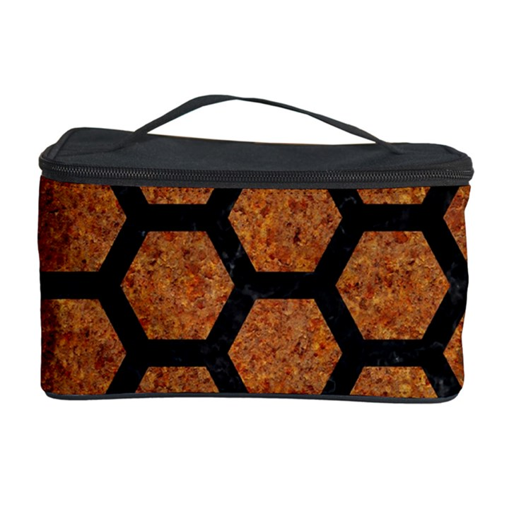 HEXAGON2 BLACK MARBLE & RUSTED METAL Cosmetic Storage Case