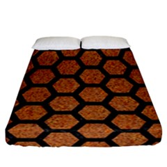 Hexagon2 Black Marble & Rusted Metal Fitted Sheet (california King Size) by trendistuff