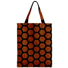 Hexagon2 Black Marble & Rusted Metal Zipper Classic Tote Bag by trendistuff