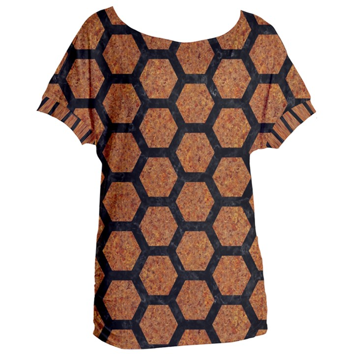 HEXAGON2 BLACK MARBLE & RUSTED METAL Women s Oversized Tee