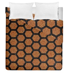 Hexagon2 Black Marble & Rusted Metal Duvet Cover Double Side (queen Size)