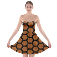 Hexagon2 Black Marble & Rusted Metal Strapless Bra Top Dress by trendistuff