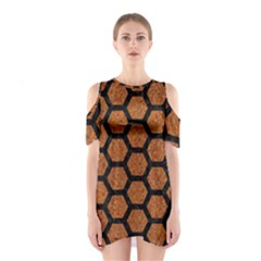 Hexagon2 Black Marble & Rusted Metal Shoulder Cutout One Piece