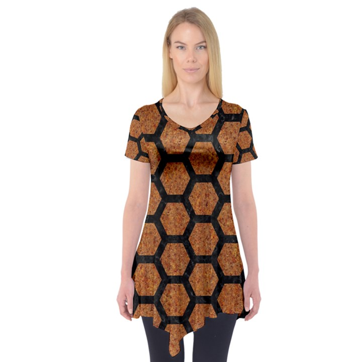 HEXAGON2 BLACK MARBLE & RUSTED METAL Short Sleeve Tunic