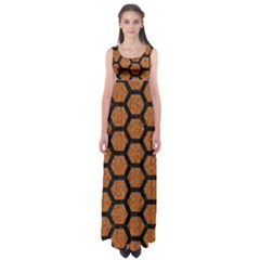 Hexagon2 Black Marble & Rusted Metal Empire Waist Maxi Dress by trendistuff