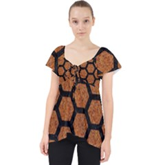 Hexagon2 Black Marble & Rusted Metal Lace Front Dolly Top by trendistuff