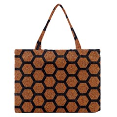Hexagon2 Black Marble & Rusted Metal Zipper Medium Tote Bag by trendistuff