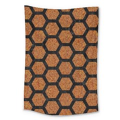 Hexagon2 Black Marble & Rusted Metal Large Tapestry by trendistuff