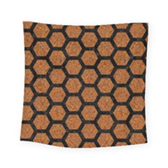 Hexagon2 Black Marble & Rusted Metal Square Tapestry (small)