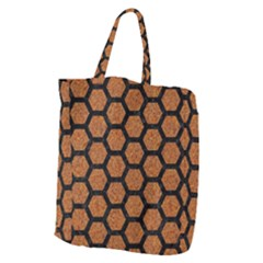 Hexagon2 Black Marble & Rusted Metal Giant Grocery Zipper Tote by trendistuff